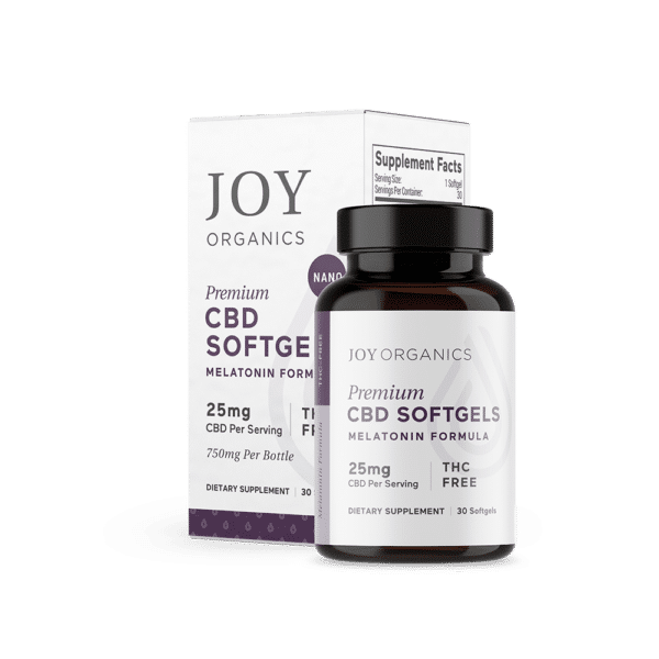 Joy Organics CBD Softgels with Melatonin for Sleep 750mg Bottle